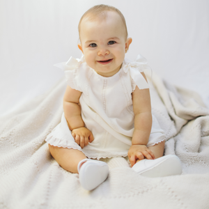"Ivory baby girl ""Milagros"" dress with bloomers"