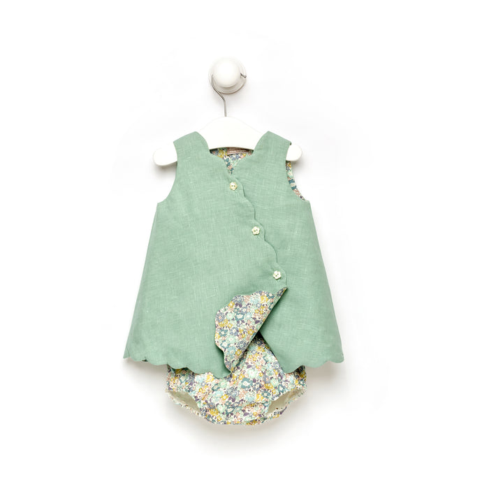 Linen and Liberty Floral Baby Girl Dress with Bloomers