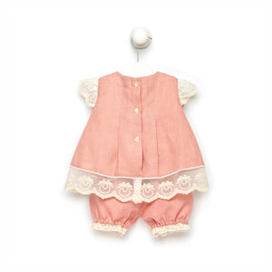 Pink Salmon Baby Girl Dress Set
