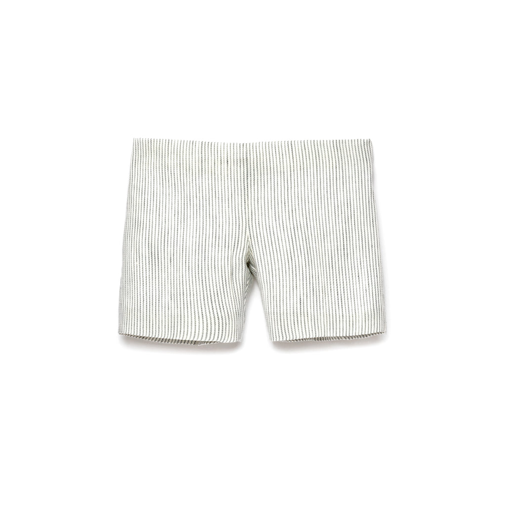 Grey Stripes Linen Shorts
