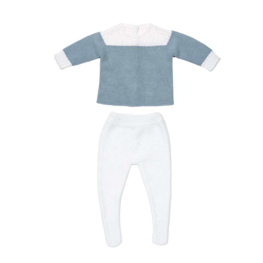 Blue and white gift set - jersey, leggings, and blanket baby knitted set