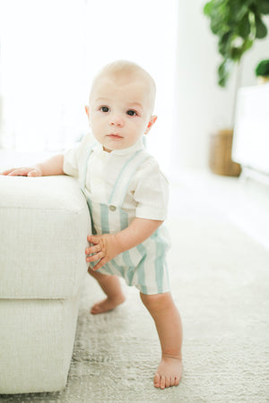 Aqua striped linen romper