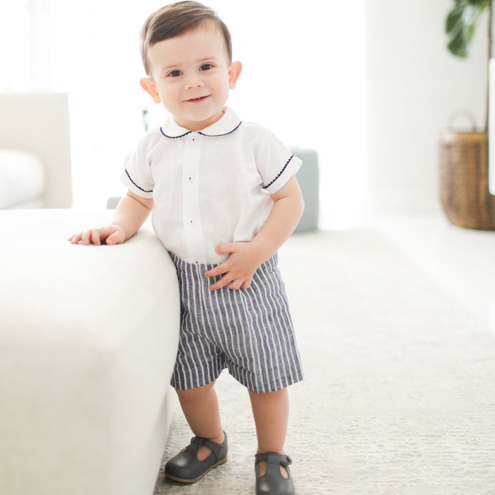 Navy and white baby boy linen button on suit