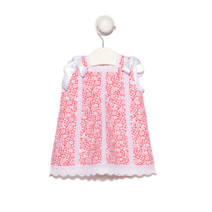 Red floral piqué cotton dress with lace and white satin bows