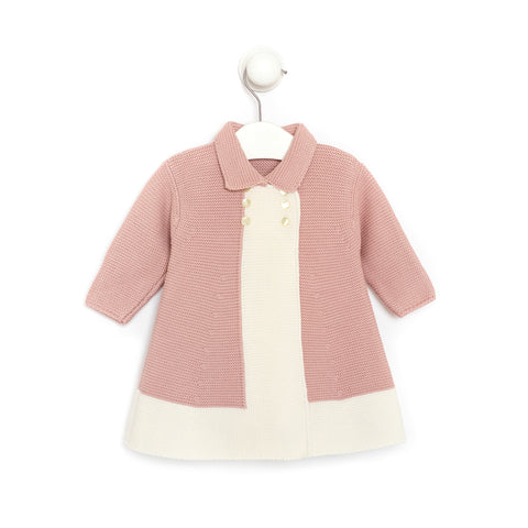 Knitted Pink and Ivory Baby Girl Jacket