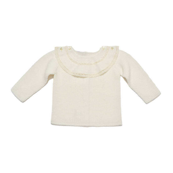 Ivory bib jersey & leggings, two piece knitted baby set