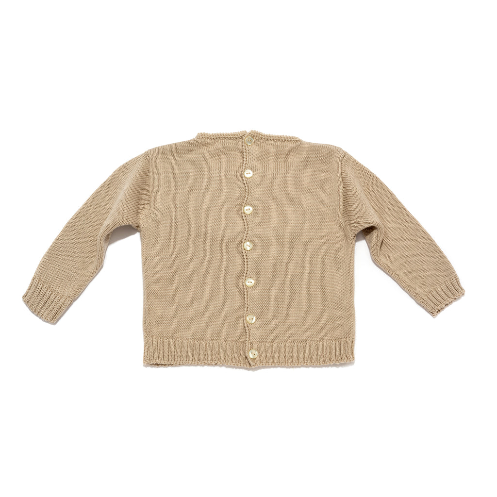 Beige Knitted Long Sleeve Sweater