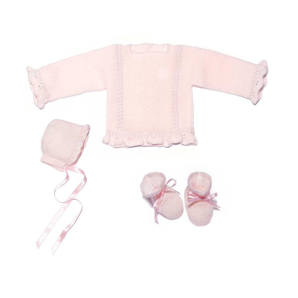 Pink newborn knitted set in wool