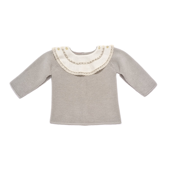 Grey bib jersey & leggings, two piece knitted baby set