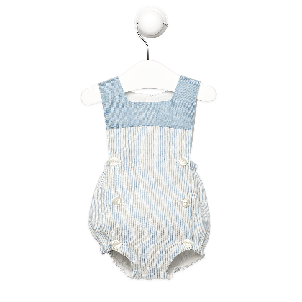 9713115be Blue and White Striped Linen Romper Summer baby boy clothes Handmade ...
