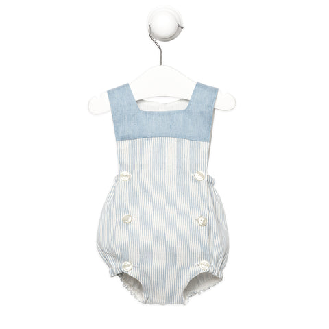 Blue and White Striped Linen Romper