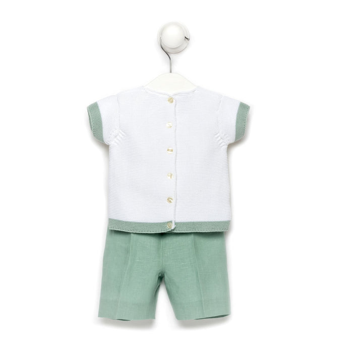 Aqua striped top and shorts - baby boy set
