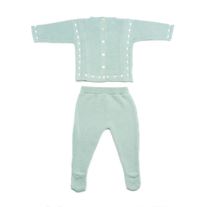 Aqua jersey & leggings, two piece knitted baby set