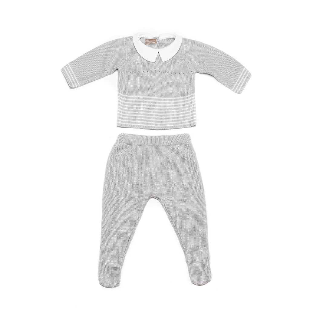 Light grey jersey & leggings, two piece knitted baby set