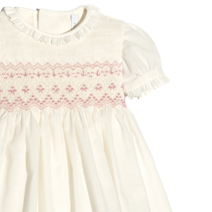 Malaga pink linen baby girl dress with lace collar and sleeves