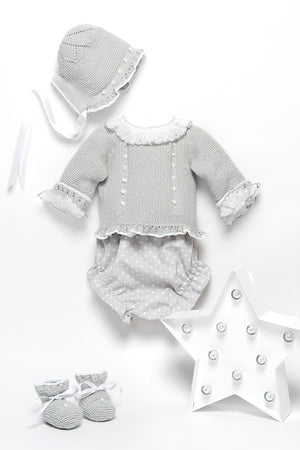 White newborn swiss batiste shirt with grey finishes and long sleeve