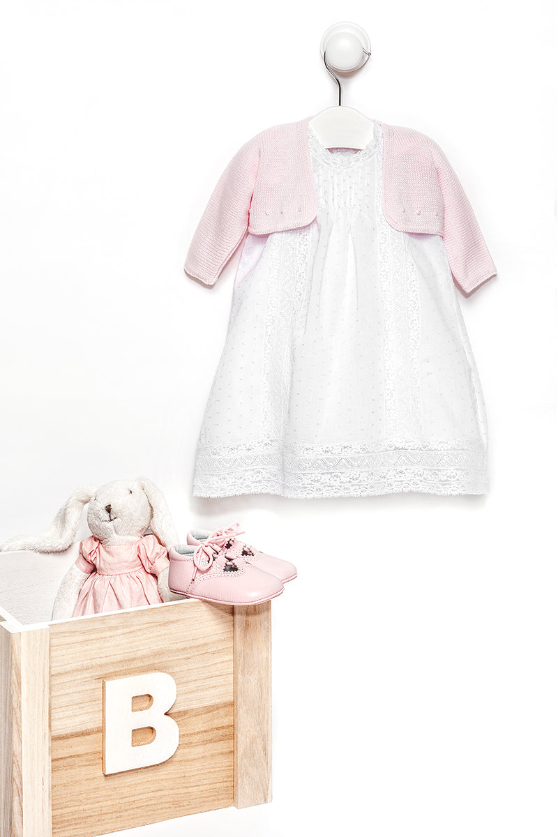 Pink baby girl plumetis dress with bloomers