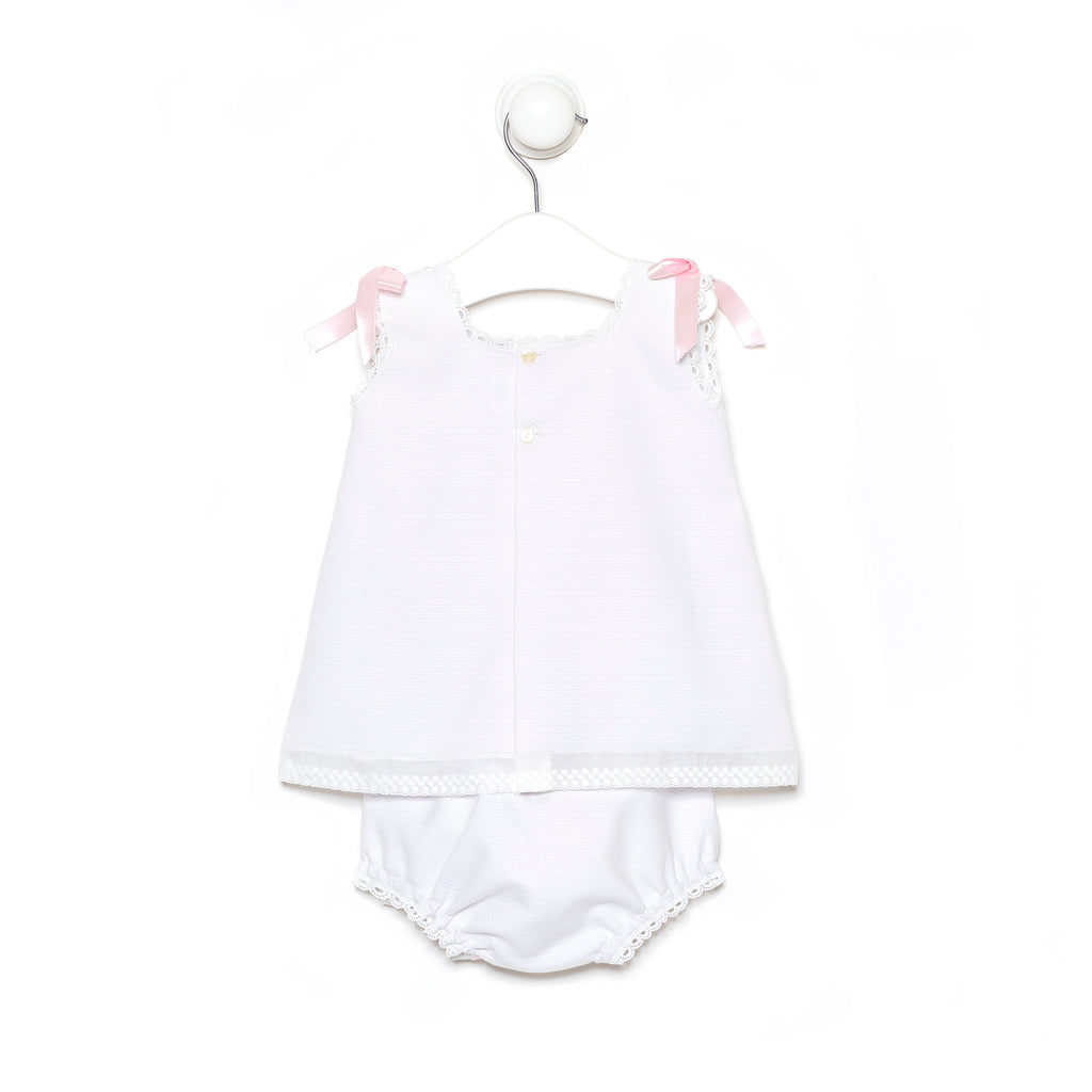 Short Dress in Piqué Cotton with pink threading details and ribbons