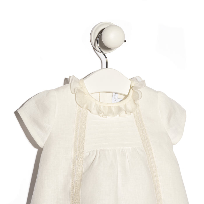 Ivory linen Menorca baby girl outfit set