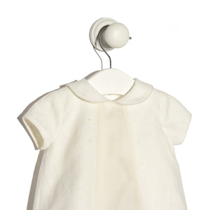 Lorenzo ivory linen and organdy romper