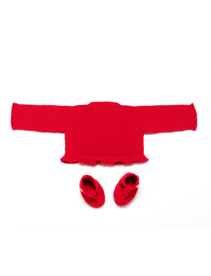 Red Wool Knitted Set