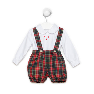Baby boy Christmas set - baggy plaid trousers with suspenders and shirt