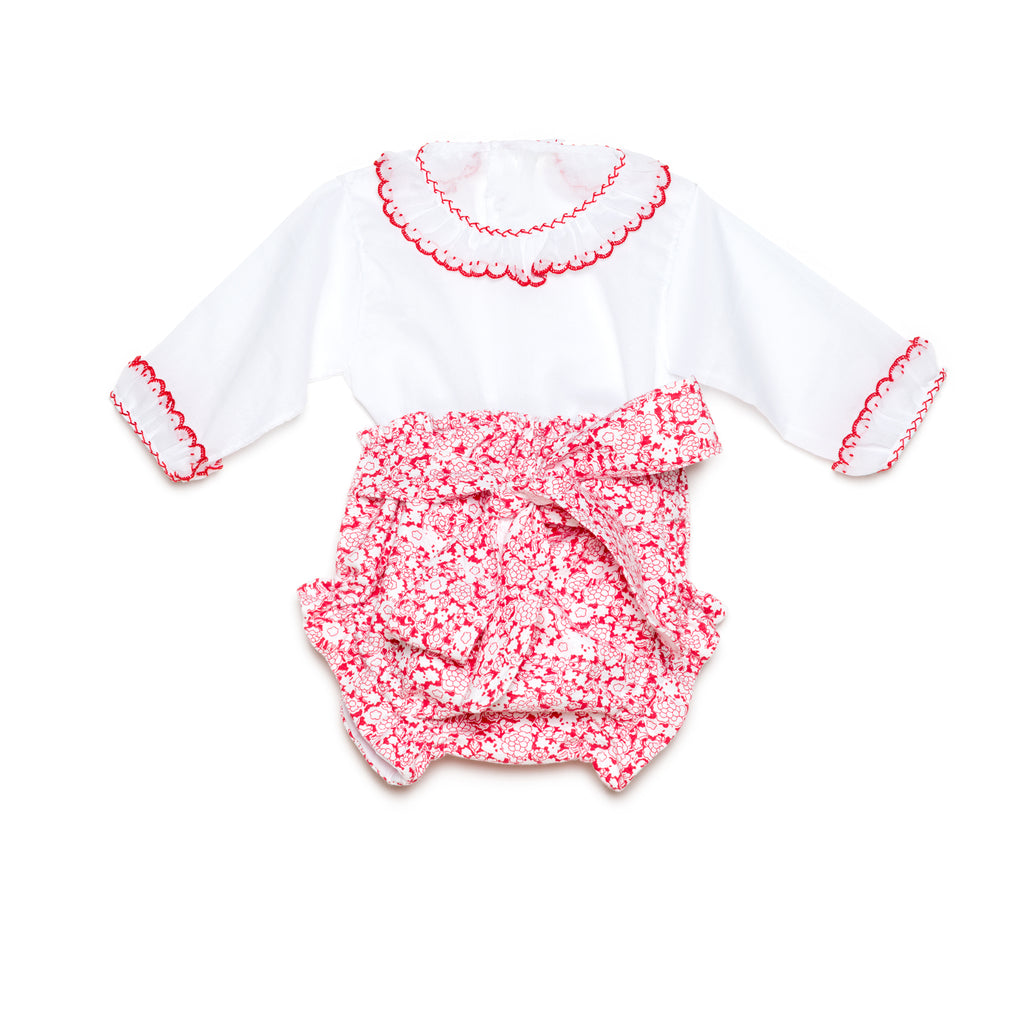 Red floral bloomers with white batiste shirt and red threading set