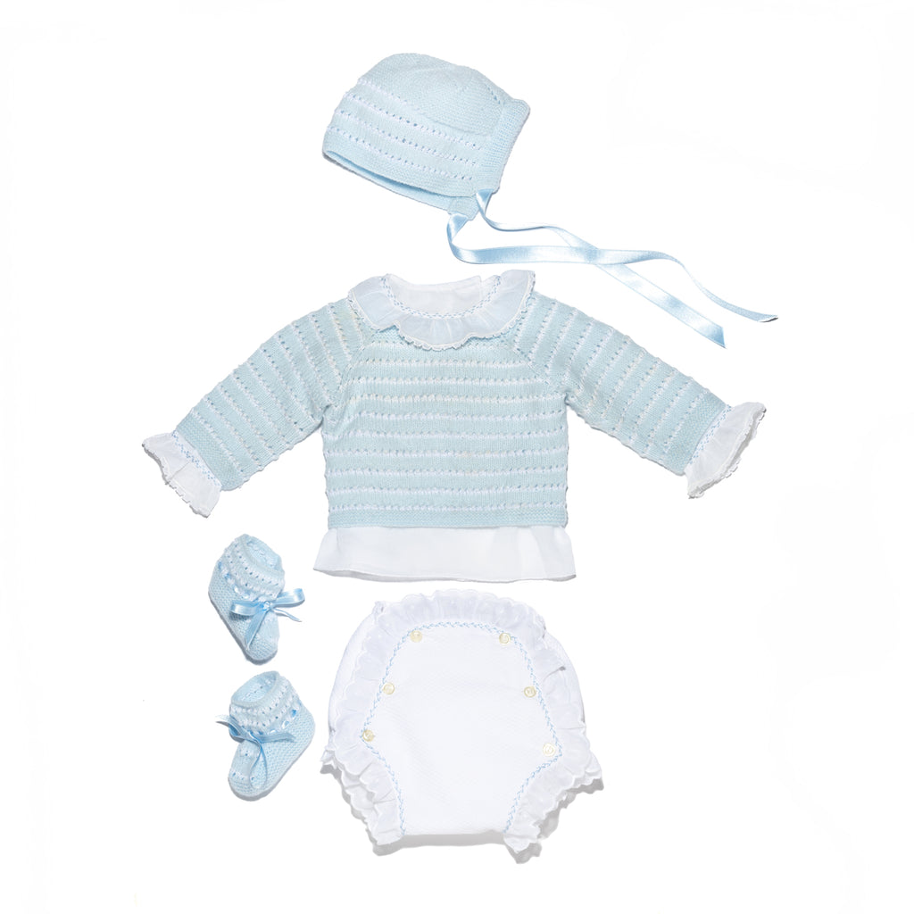 White and blue stripes newborn knitted set in wool