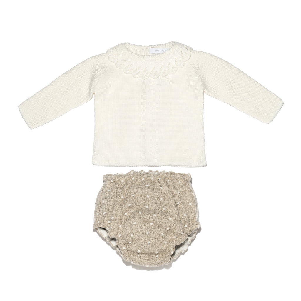 Baby girl ivory set - Polka dot bloomers and knitted sweater with ruffled collar