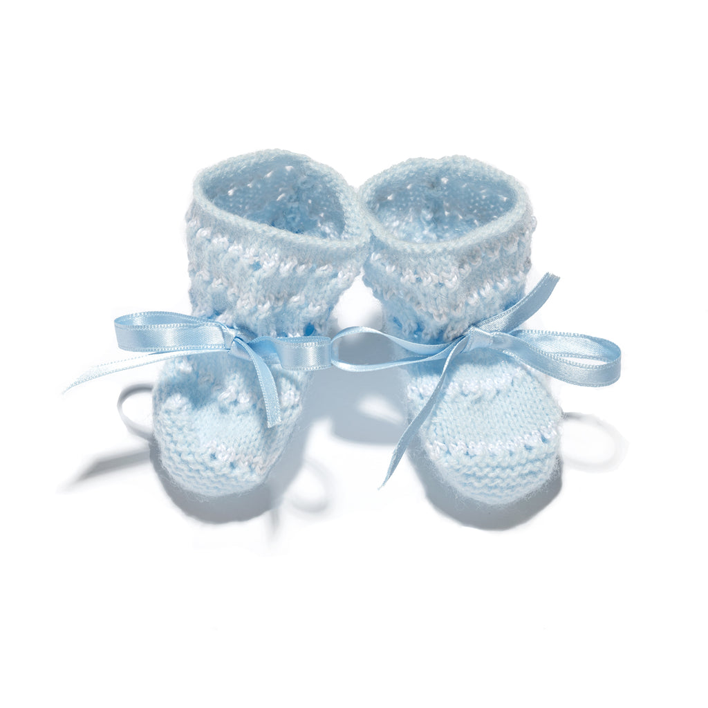 White and blue stripes newborn 3 piece wool knitted set