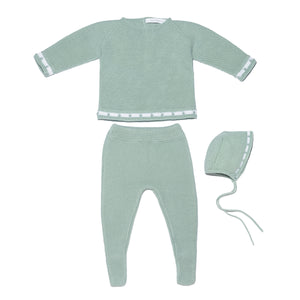 Aqua baby knit set - jersey, leggings and bonnet knitted set with dots details