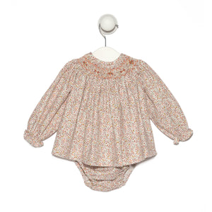 "Bordeaux floral ""Jesucito"" baby girl dress"