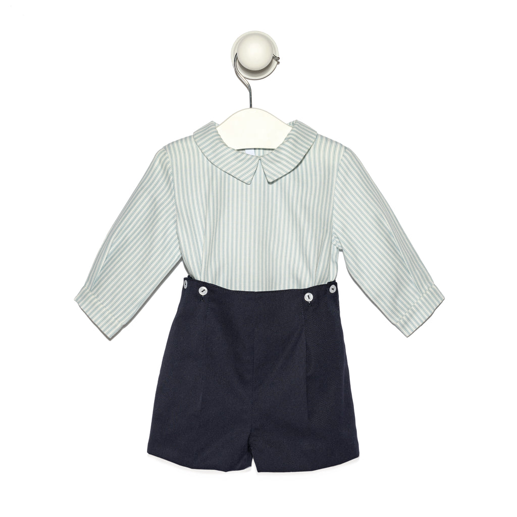 Baby boy navy set - Stripes cotton shirt and navy short pants