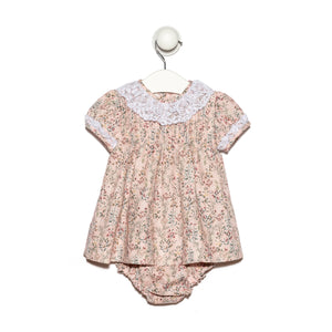 Pink floral jaretas baby girl viyella dress with lace collar