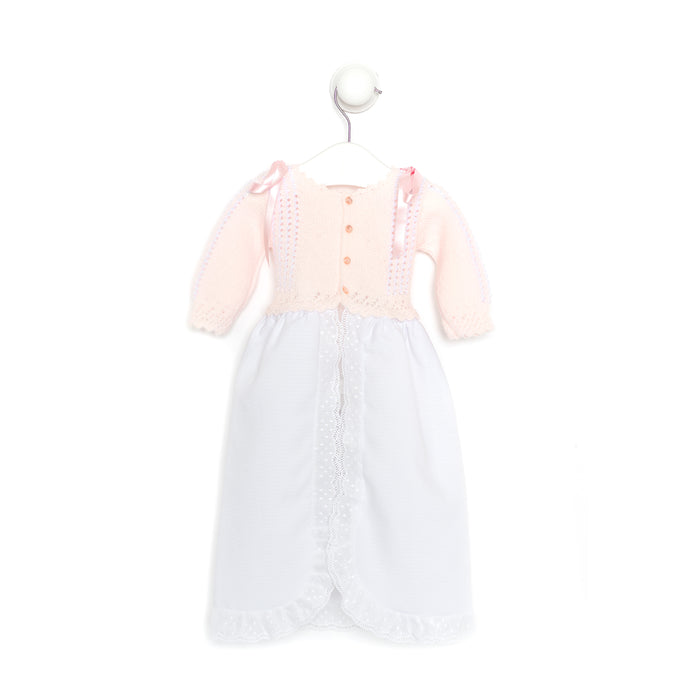 "Newborn Pink and White Baby Gown - ""Spanish Baby Faldón"""