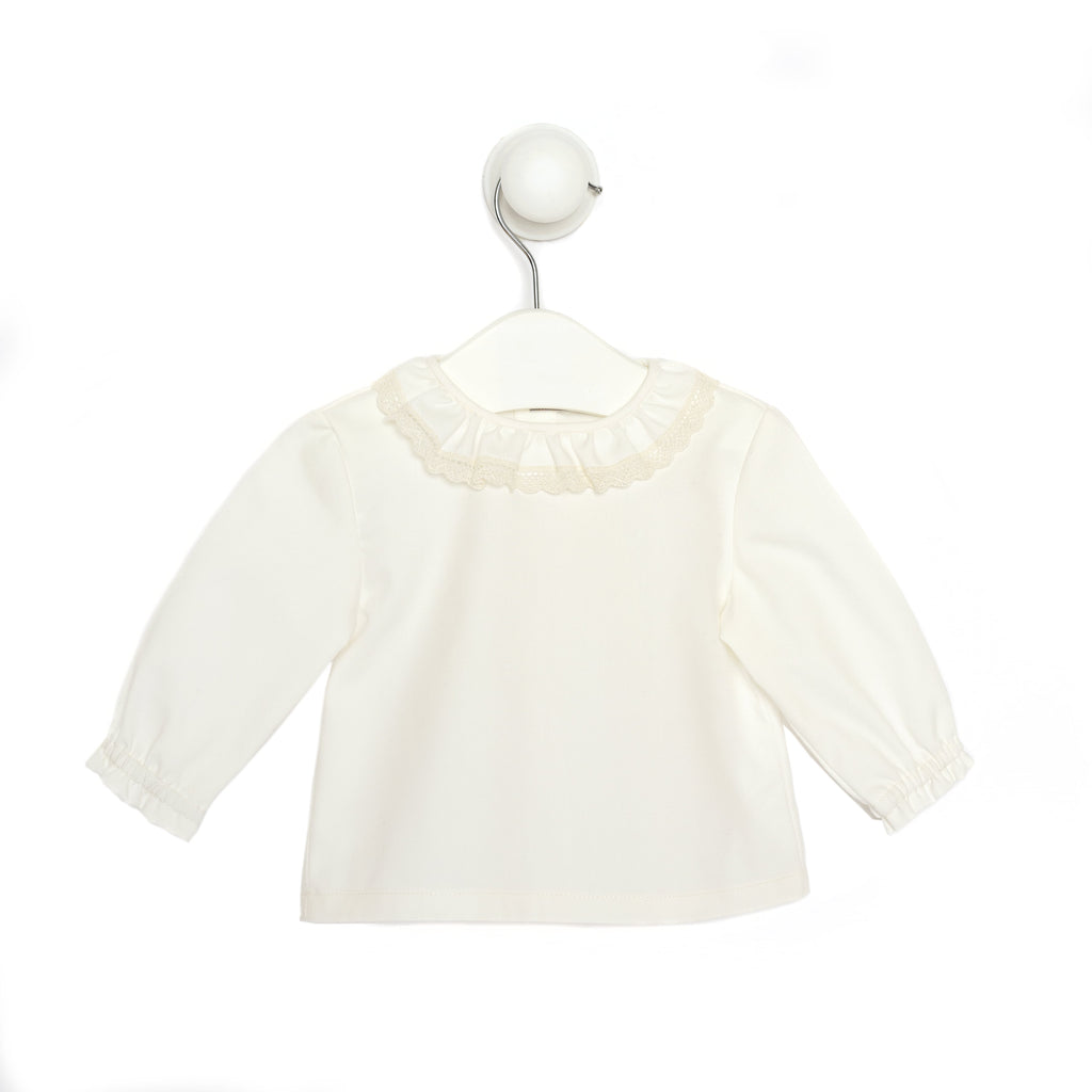 Baby Girl White Shirt with Ruffled Lace Neckline