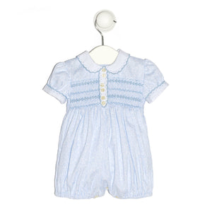 Floral blue smocking romper