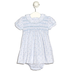 Floral blue baby girl Granada smock dress with cap sleeves