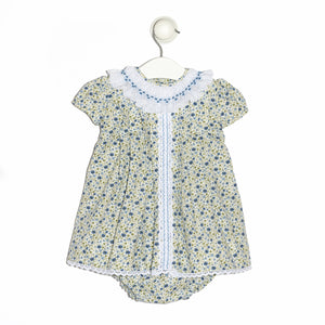 Geneve floral baby girl batiste dress with smocked collar and lace strip
