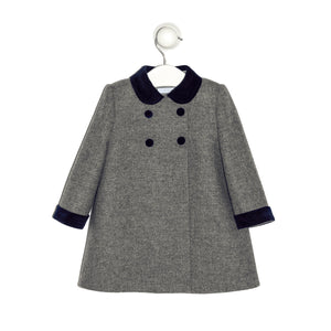 Mayfair english grey coat with blue navy velvet cuffs, collar and buttons detail