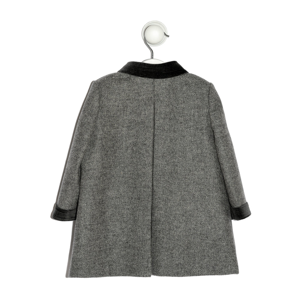 Belgravia english grey coat with grey velvet cuffs, collar and buttons detail
