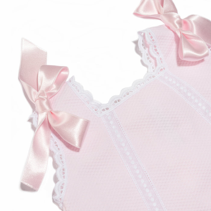 "Pink baby girl ""Cortito"" dress in piqué cotton"