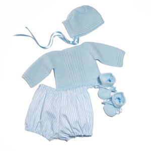 Newborn boy gift set - Hand knit jersey, bonnet, booties and stripes pique bloomers
