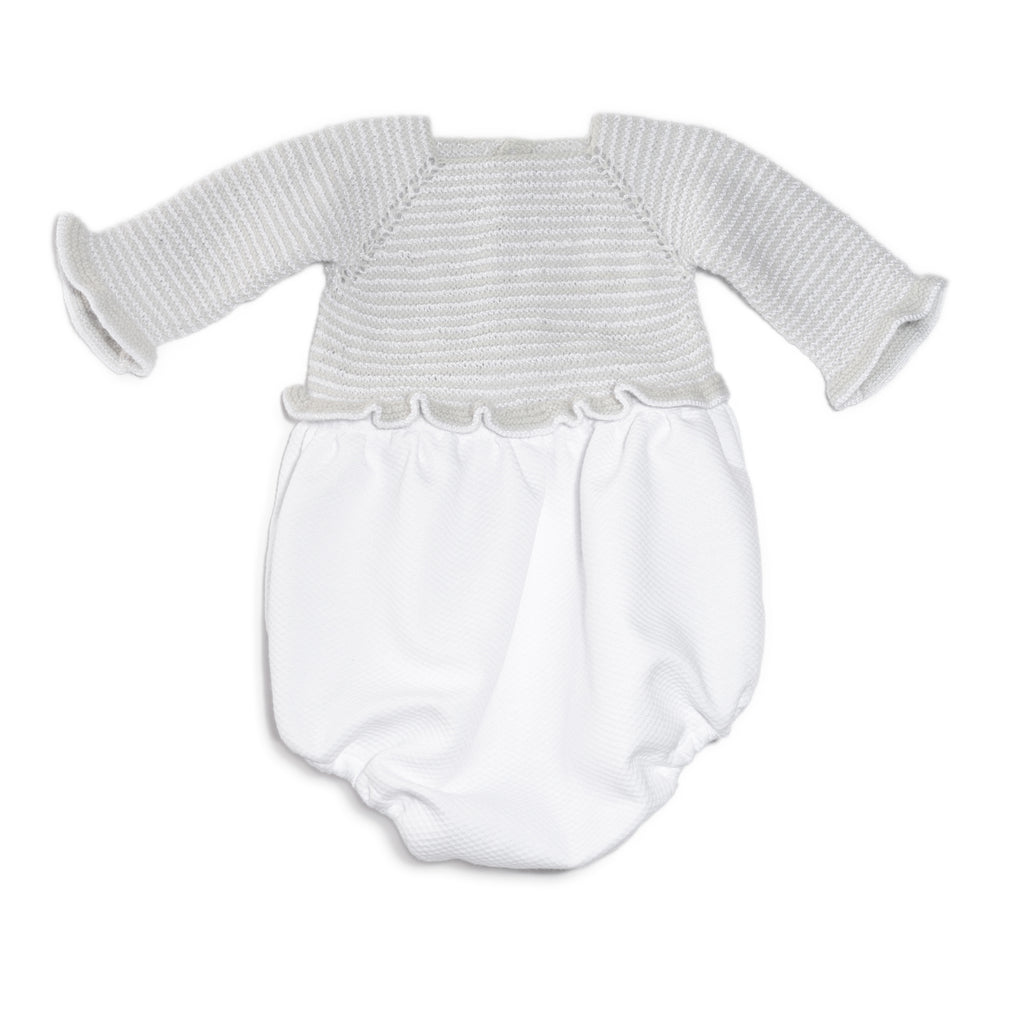 Hand Knitted Wool Baby Boy Romper Bodysuit Black and Gray Striped