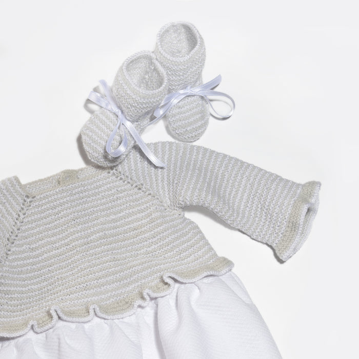 White and grey Nacho romper and booties- Hand-knit stripes top with pique bottom