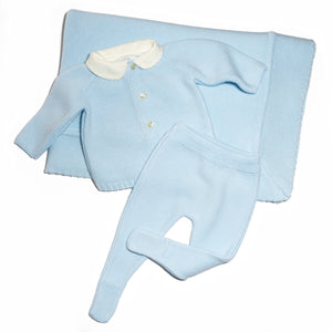 Light blue baby 3 piece gift set - jersey, leggings, and blanket baby knitted set