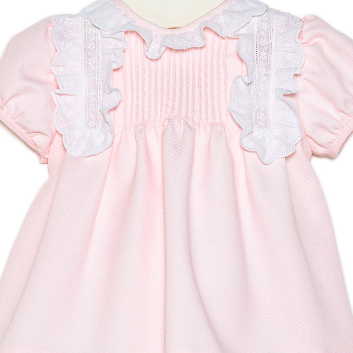 Bajadas Pink Cotton Piqué and White Lace Dress