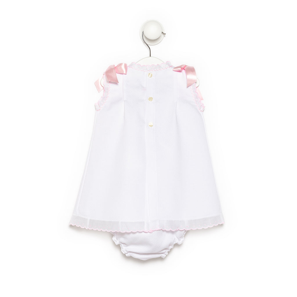 Helen White Piqué Cotton Baby Girl Dress with pink satin ribbons