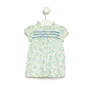 Floral Linen Dress with Blue entre Deux