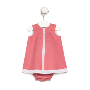 Guava baby girl linen dress with cotton lace